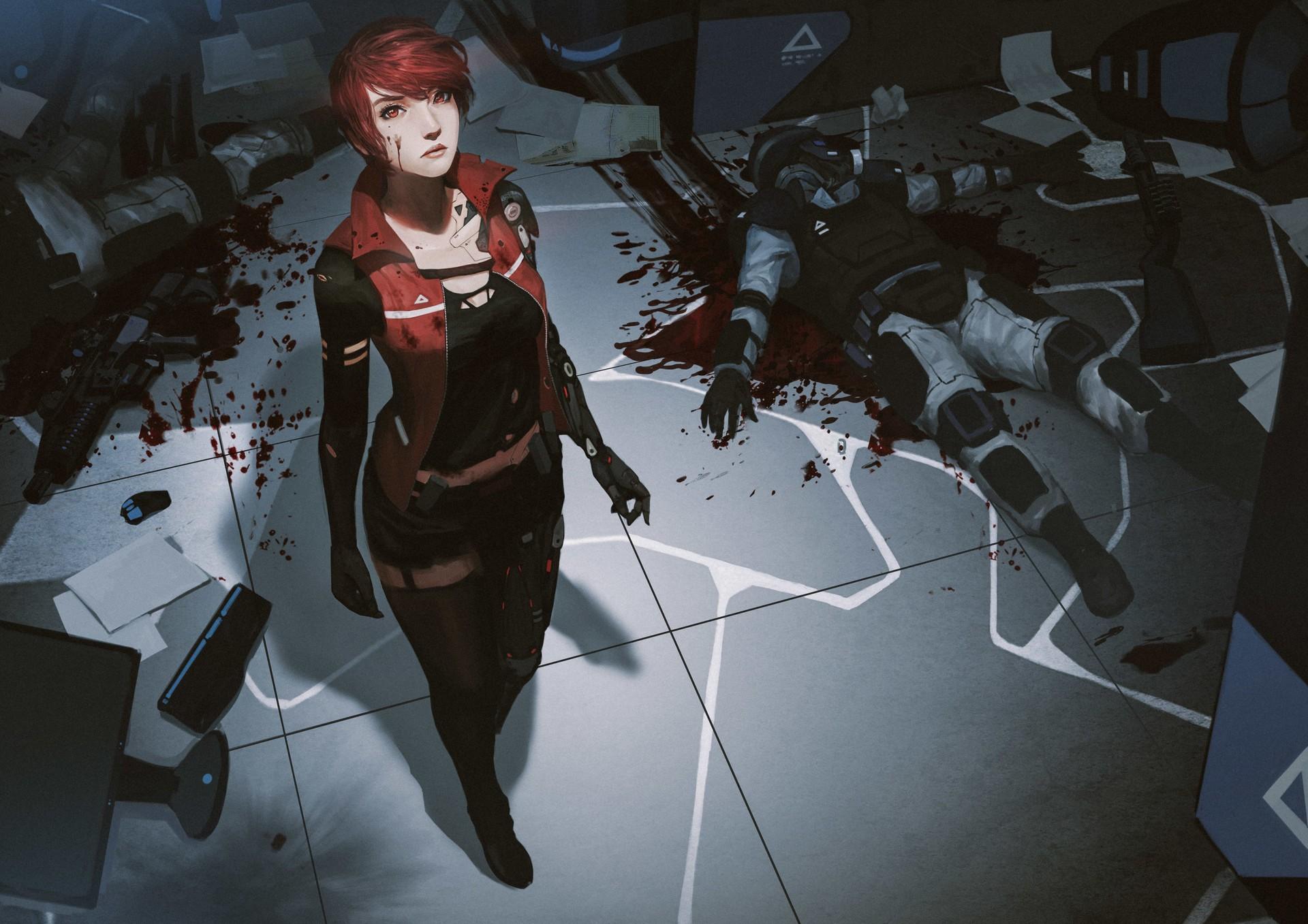 General 1920x1357 futuristic anime girls blood redhead short hair