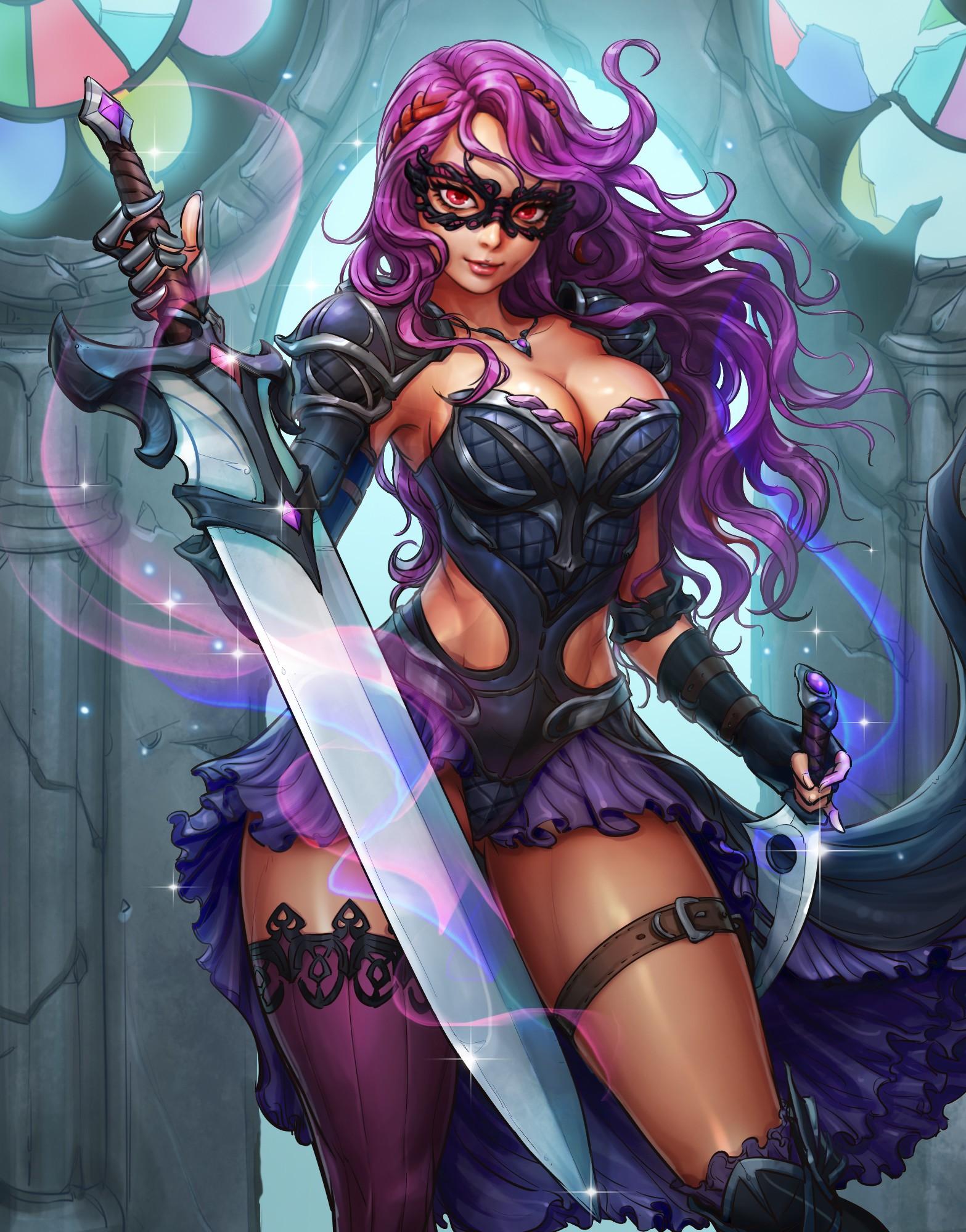 Gilr with purple hair with big boobs Warrior Big Boobs Purple Hair Red Eyes Fantasy Girl Spiritstones Anime Girls Anime Sword Mask Fantasy Art 1567x2000 Wallpaper Wallhaven Cc