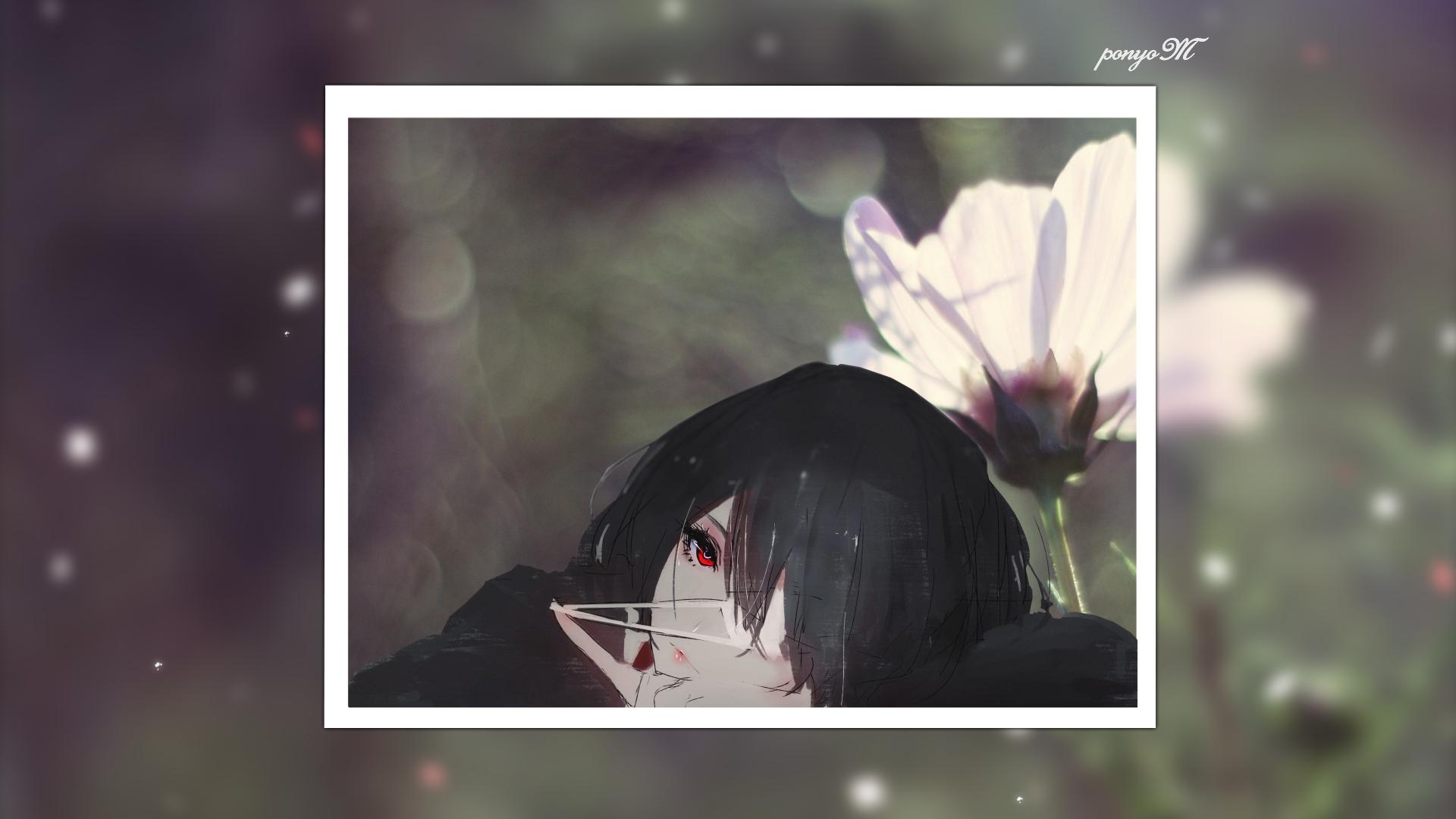 Anime 1920x1080 flowers nature Misaki Mei artwork anime girls Another