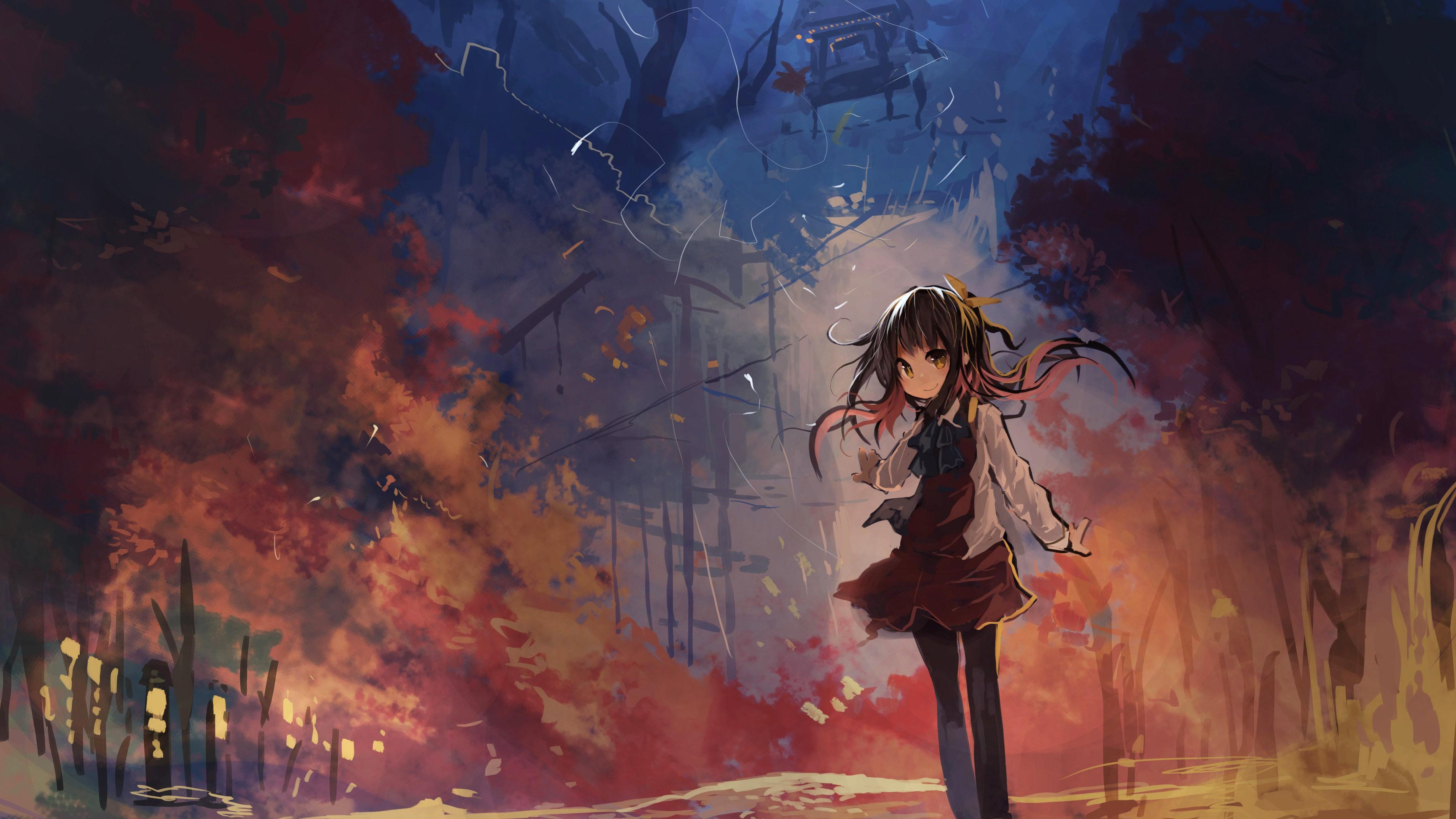 Anime 4093x2302 anime anime girls Kantai Collection fall moescape