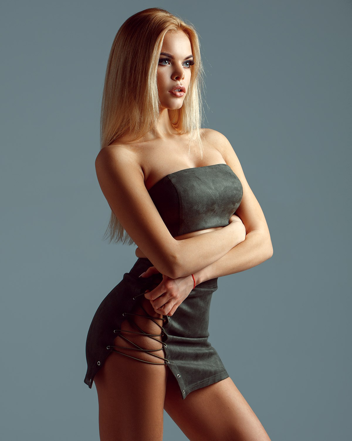 People 1200x1500 Aleksey Trifonov simple background women model blonde arms crossed long hair bare shoulders looking into the distance blue background