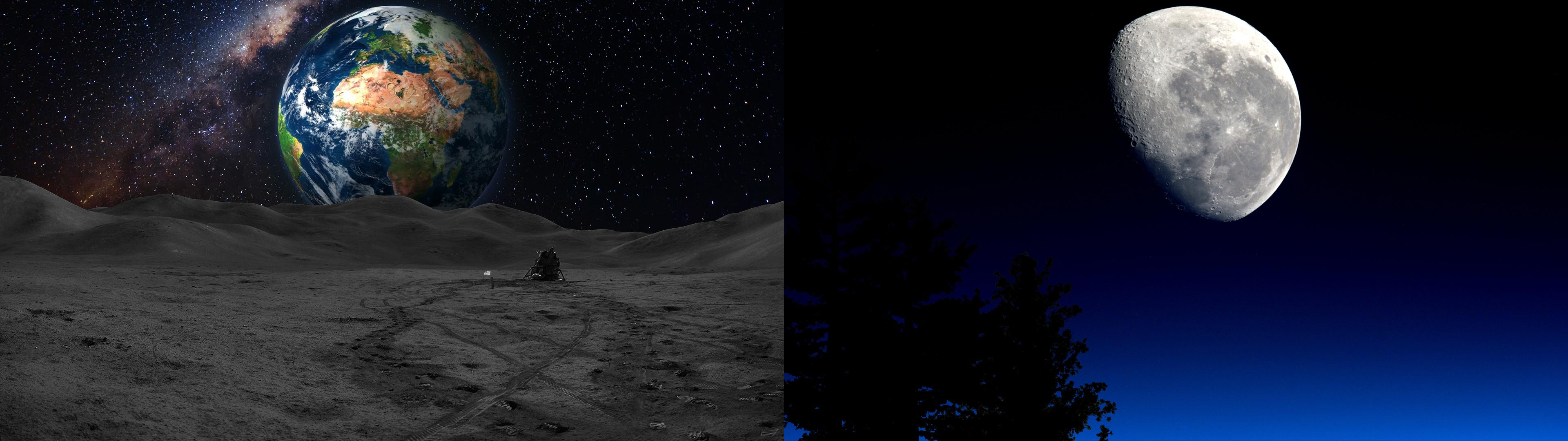 General 3840x1080 dual monitors Moon Earth space