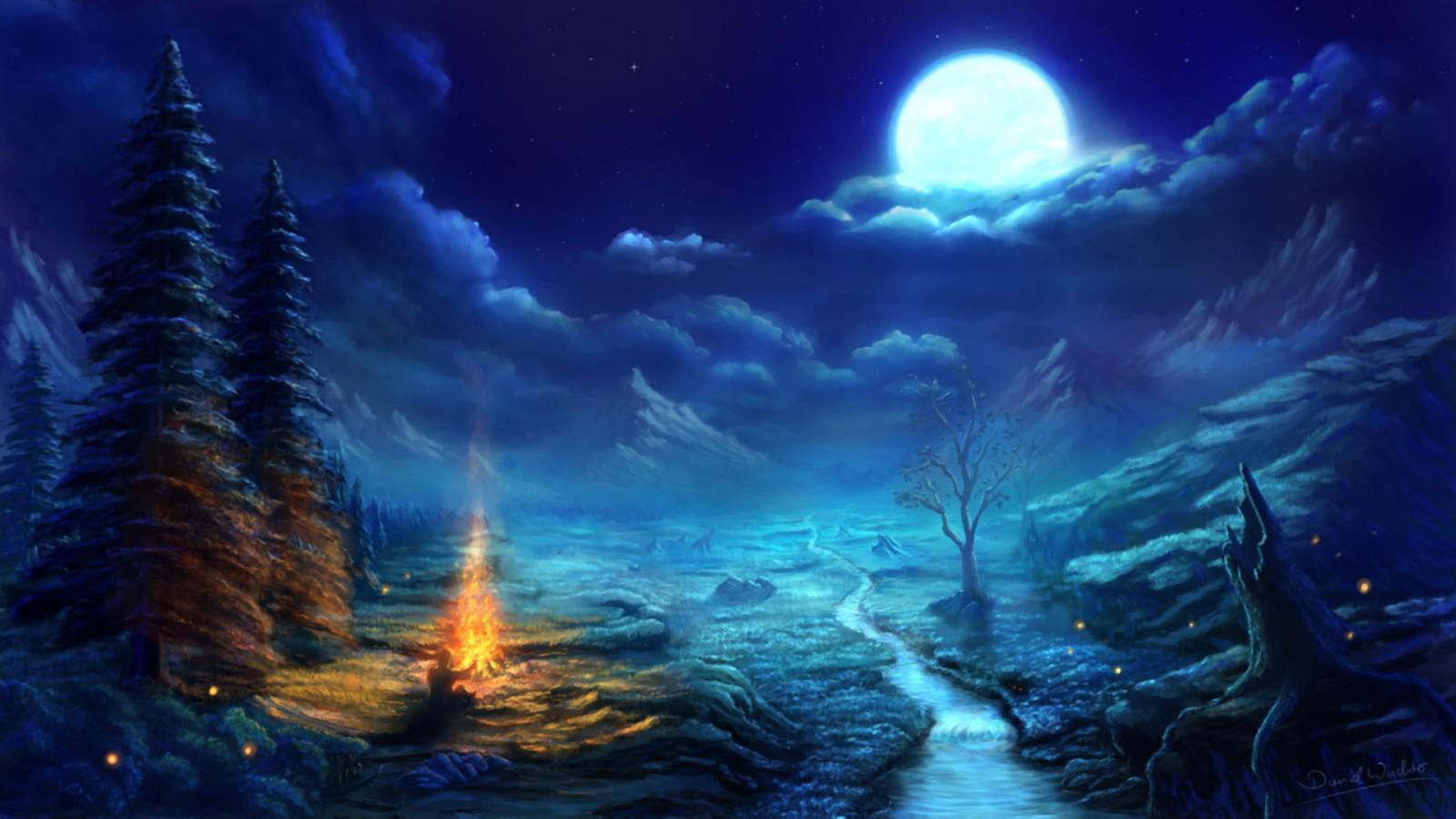 General 1600x900 digital art fantasy art nature night Moon trees pine trees stream dead trees