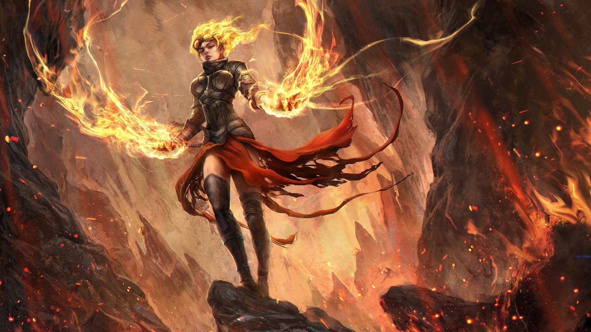 General 1920x1080 Chandra Nalaar Magic: The Gathering digital art fire