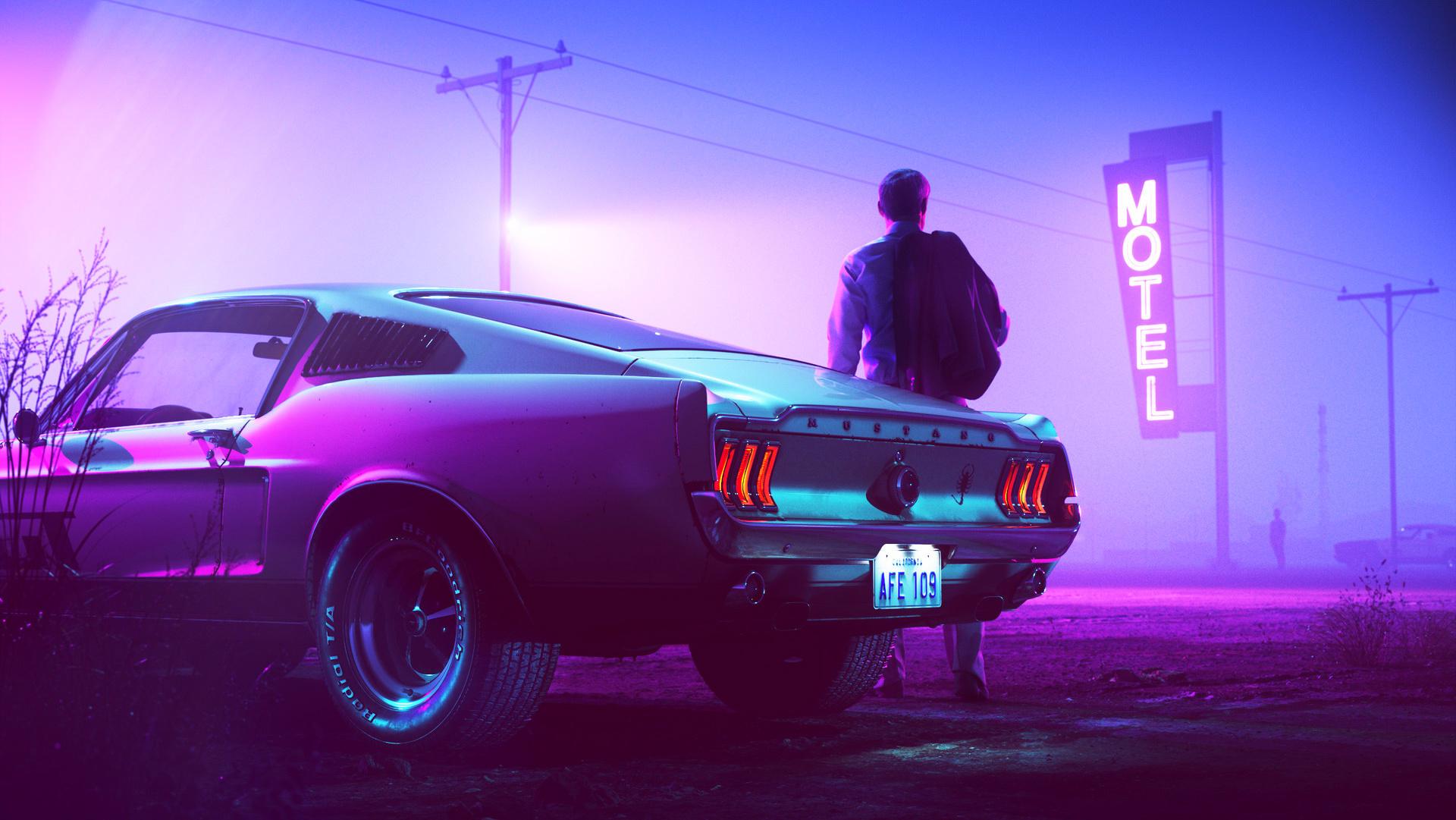 General 1920x1081 car Drive (movie) Ford Ford Mustang men Colorsponge Carlos neon motel street road