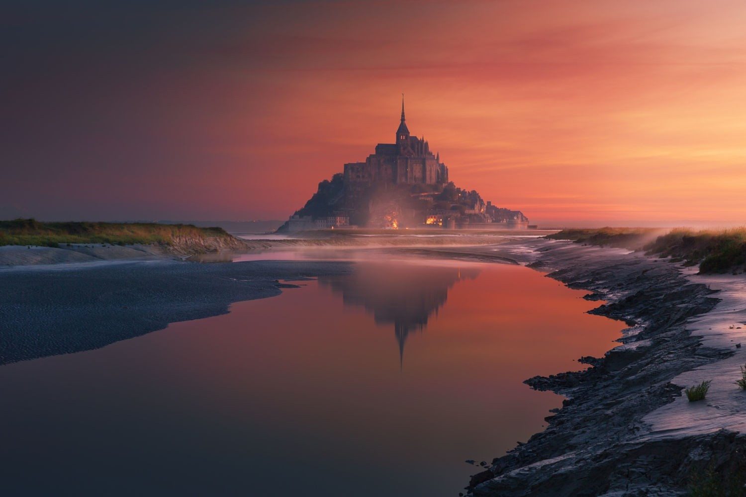 General 1500x1000 nature photography landscape sunset Mont Saint-Michel France reflection Abbey island World Heritage Site monastery sky